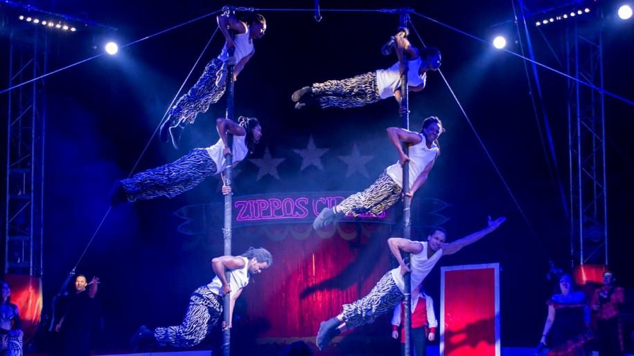 acrobats at Zippos Circus