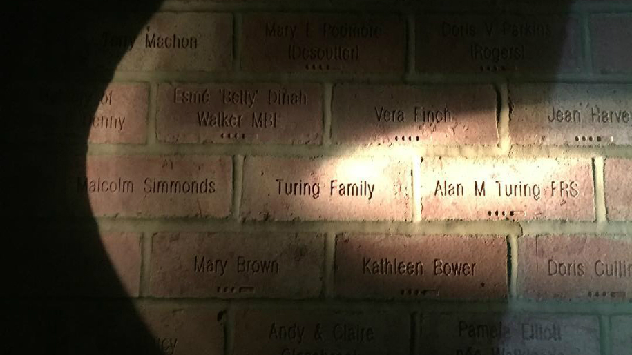 Wall with text on at Bletchley Museum