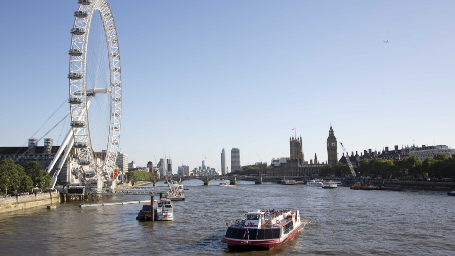 River Thames with city cruises boat
