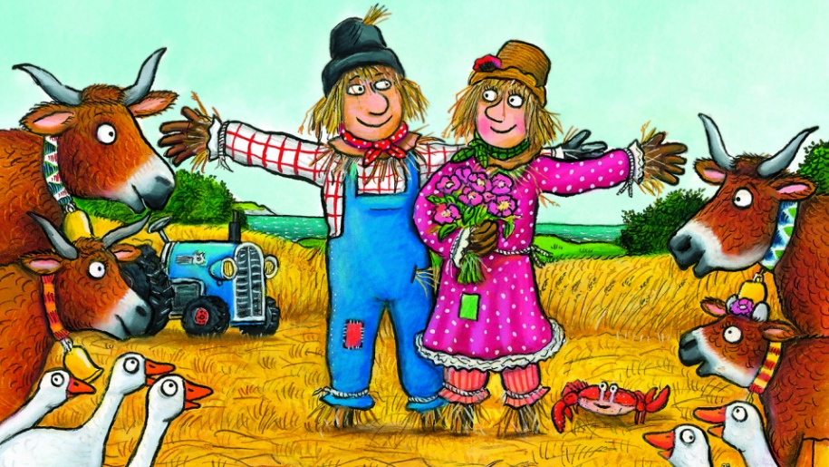 drawing of scarecrows and animals