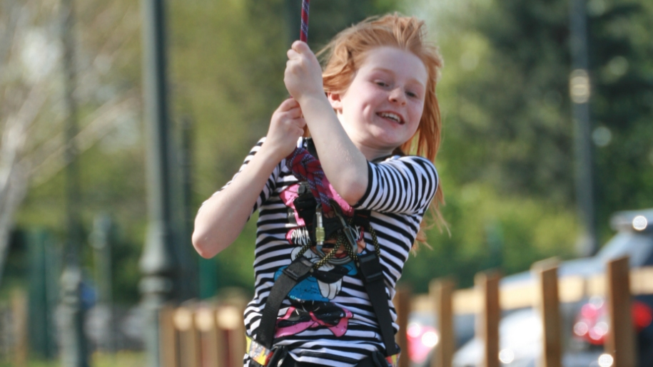 girl on zip wire