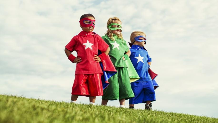 kids dressed as superheros