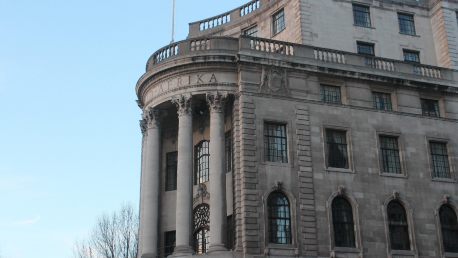 front of bank building
