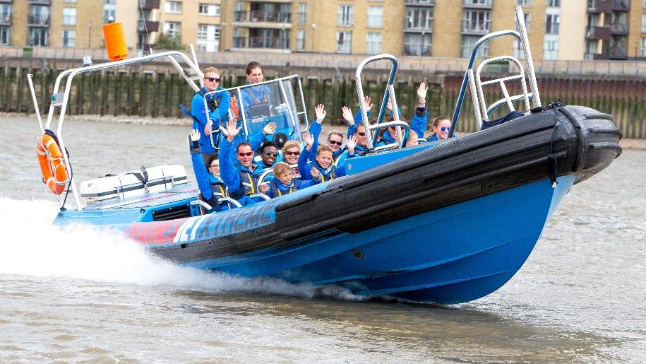 Families on speedboat