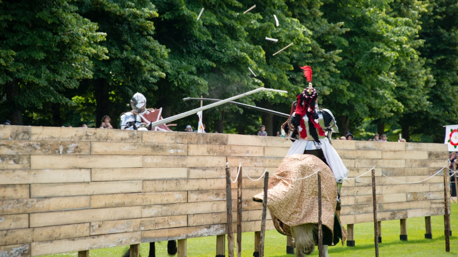 Knights on horses jousting