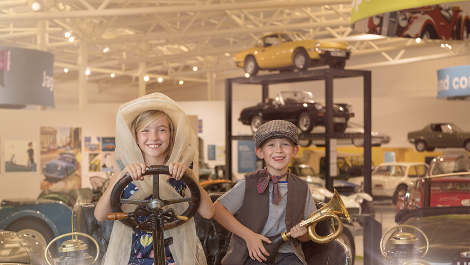 kids in vintage car