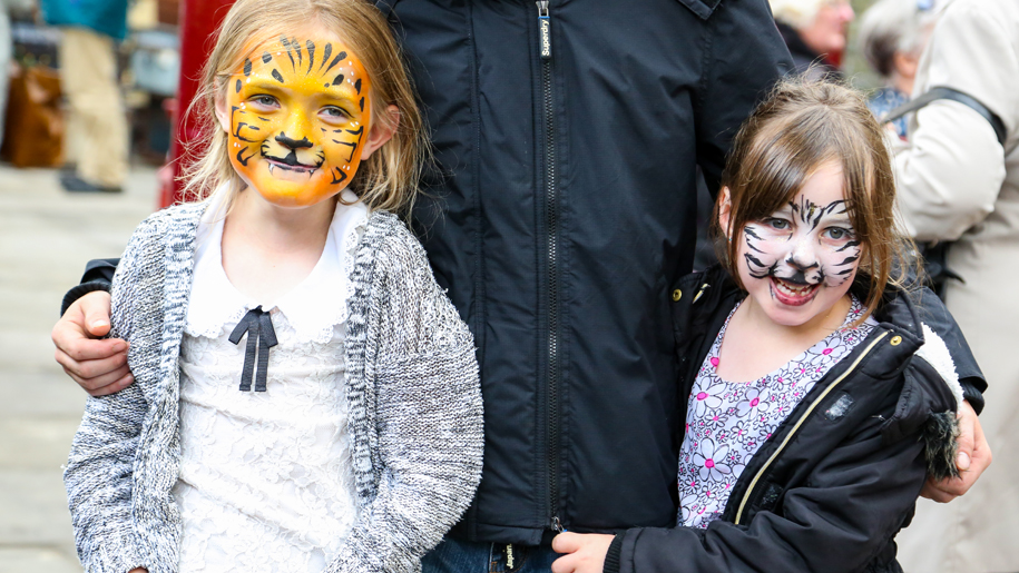 two girls with animal face paint