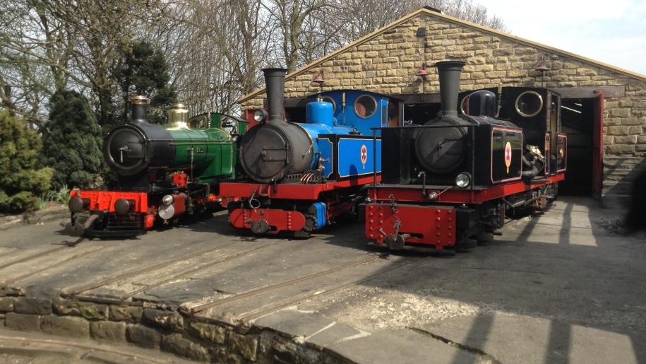 Kirklees Light Railway three trains in station