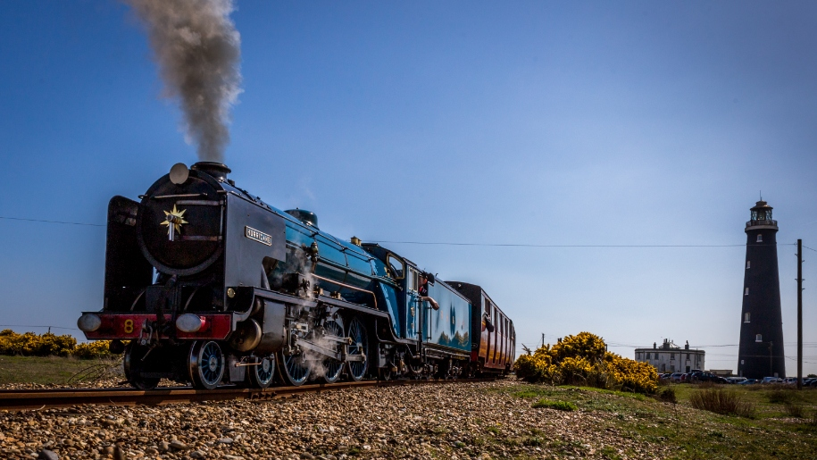 steam train and lighthouse