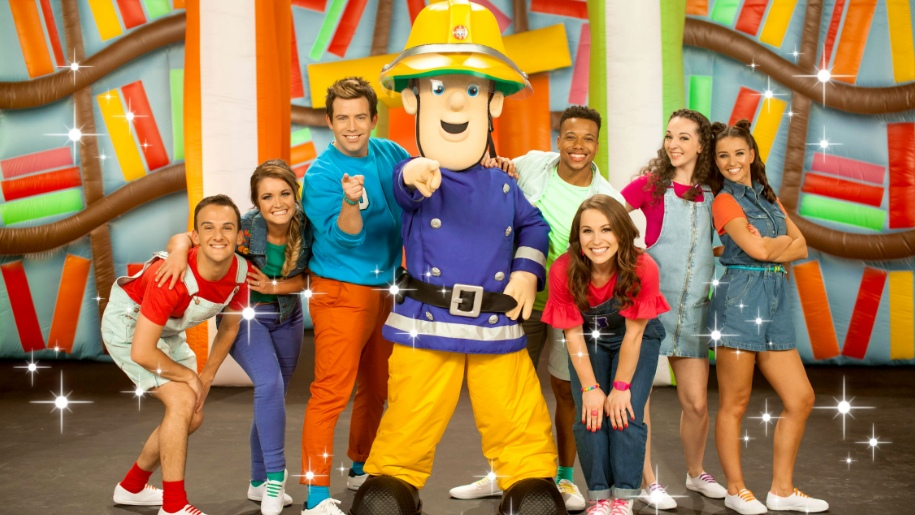 Fireman Sam and entertainers on stage at G Live