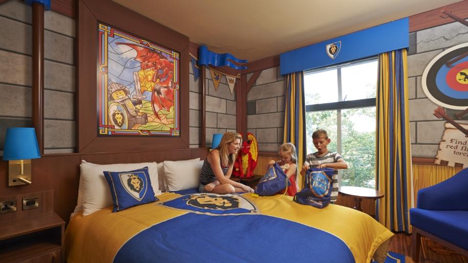 Family in Lego Castle