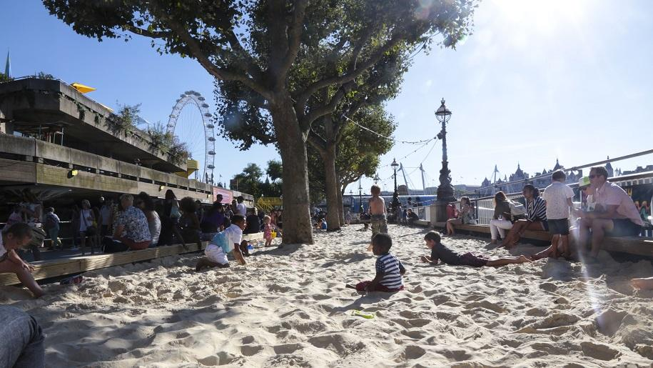 children playing on London beach