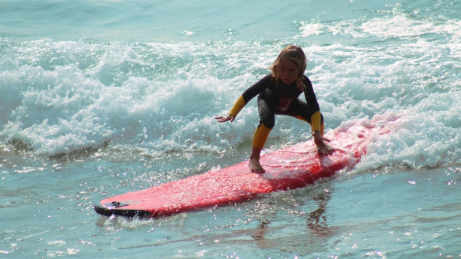 girl on surfboard