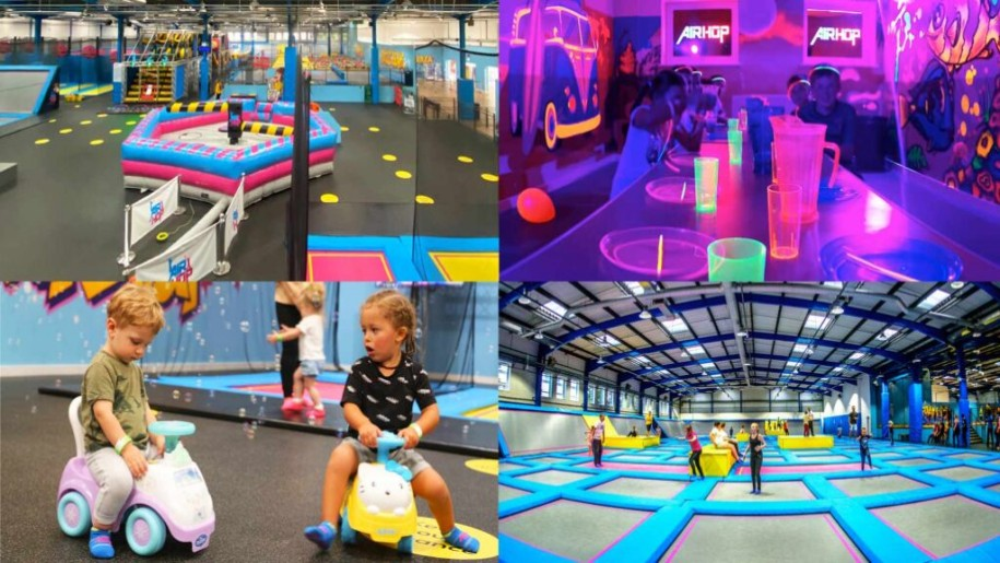 collage of trampolines at Air Hop