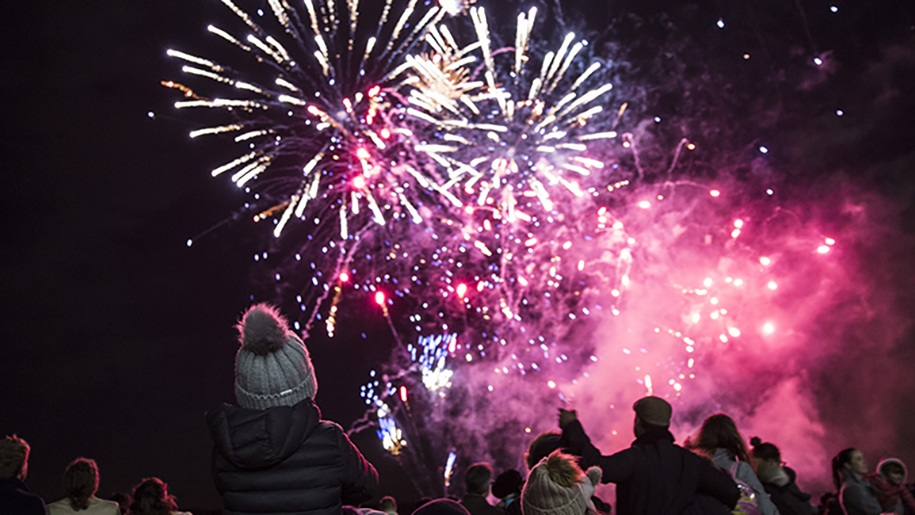 family watching fireworks at Ascot Racecourse