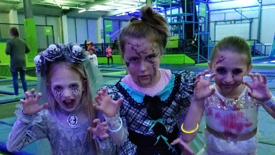 kids dressed for Halloween at Jump In