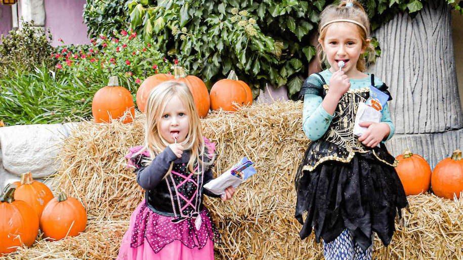 two girls in Halloween costume at Sundown