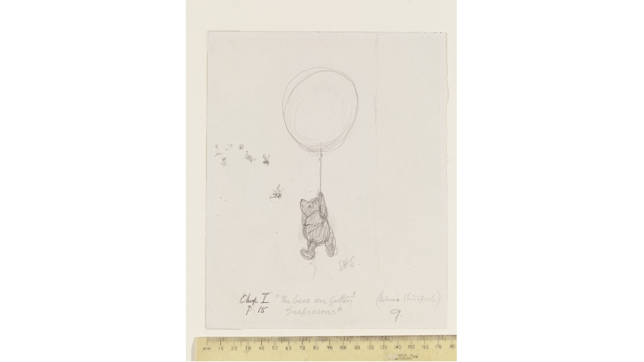'The bees are getting suspicious', Winnie-the-Pooh chapter 1, pencil drawing by E. H. Shepard © The Shepard Trust, reproduced with permission from Curtis Brown