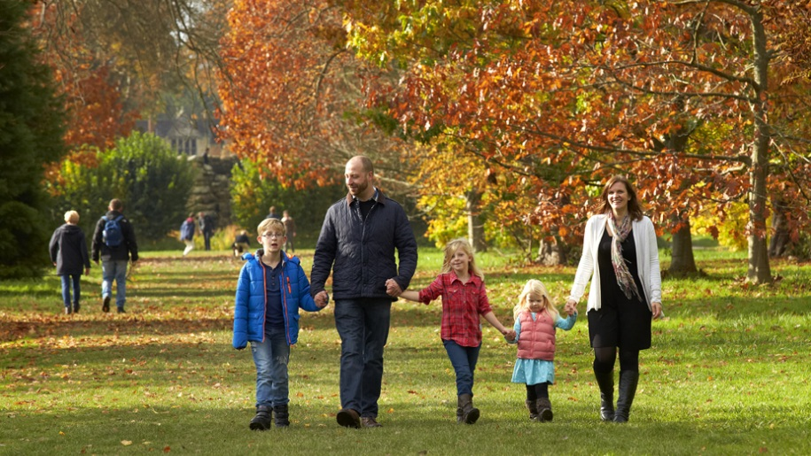 family walking in autumn