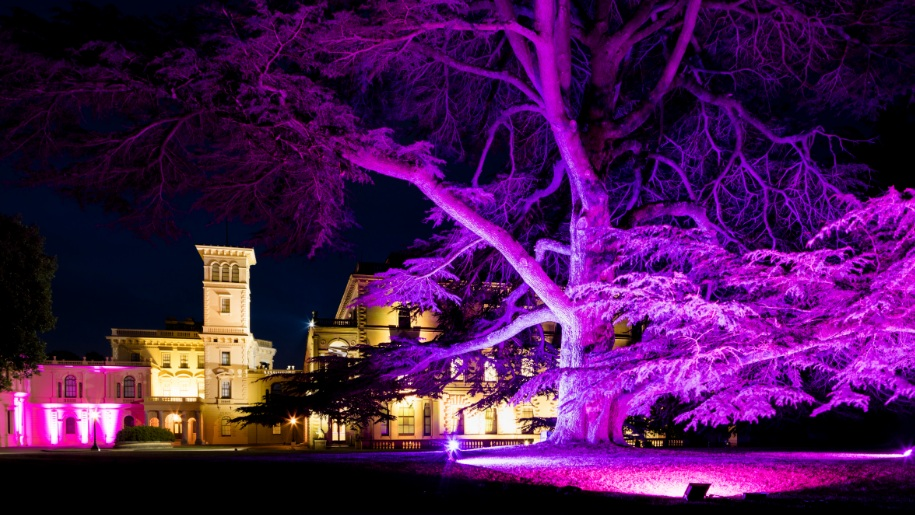 English Heritage site in purple light