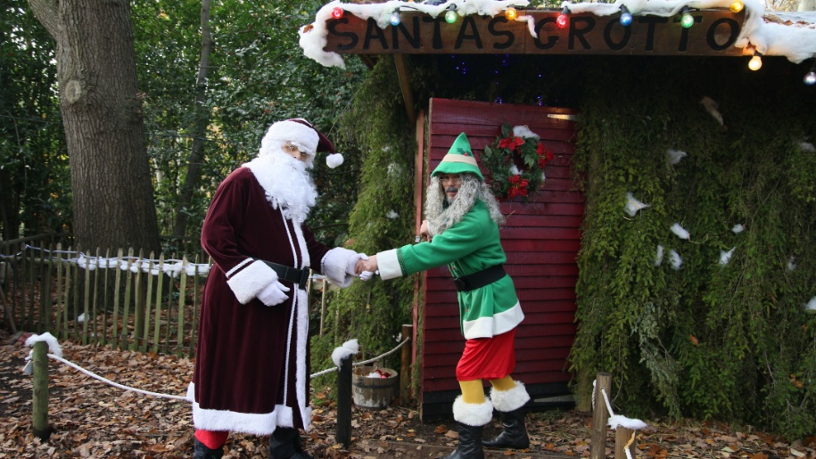 santa and elf at Wildwood Trust