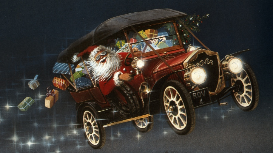 santa in a flying car drawing