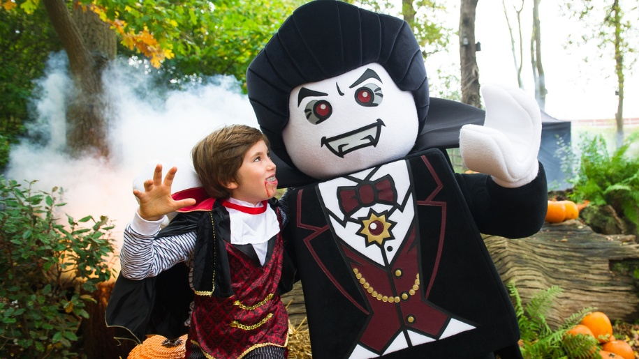 boy and lego character at Halloween