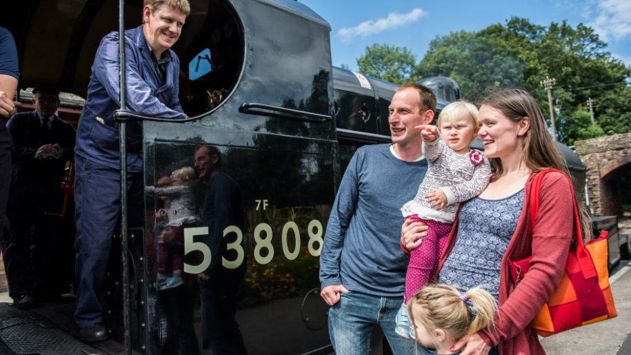 family with steam train