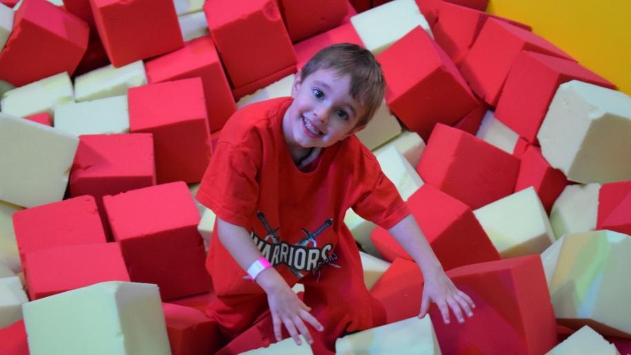 boy in foam pit