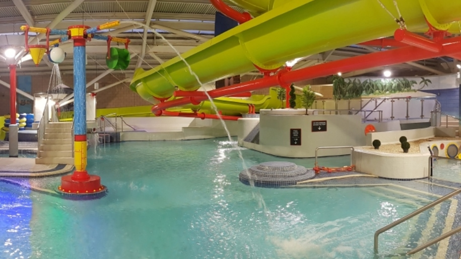indoor swimming pool and slides
