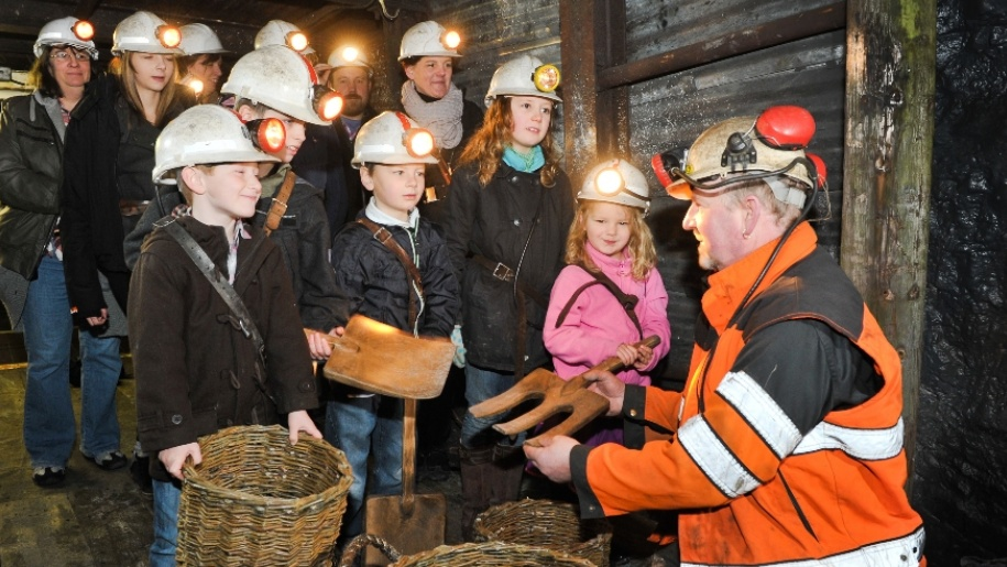 children learning in a mine