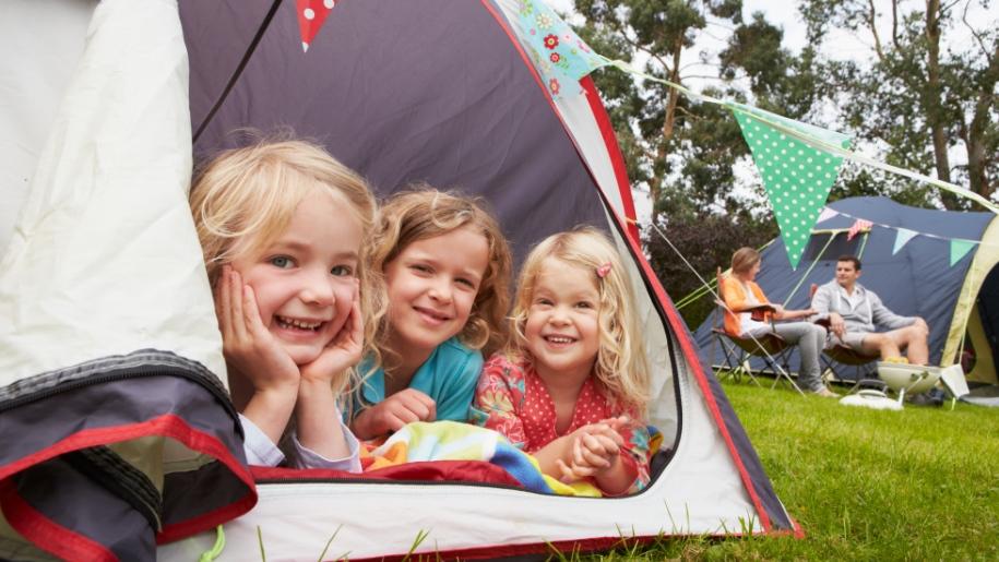children in a tent