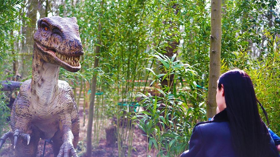 dinosaur and woman