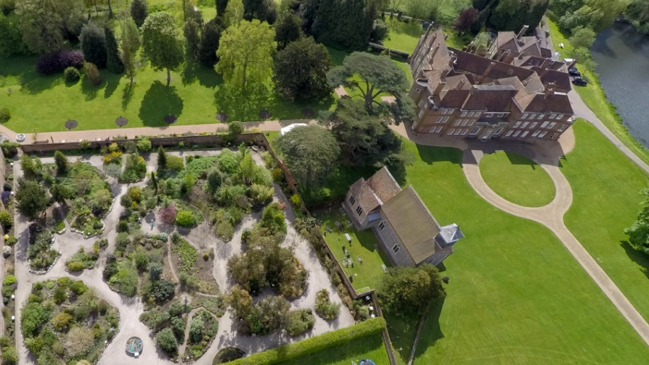 aerial view of Lullingstone castle and gardens