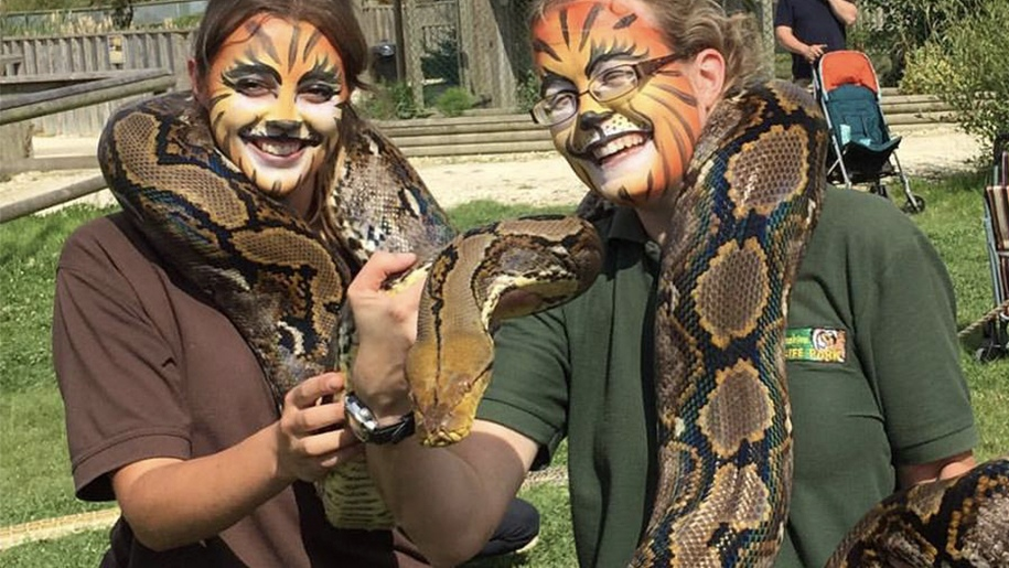 women with tiger face paint holding snakes