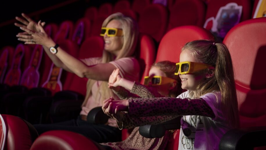 Woman and children in 4D cinema at Legoland Discovery Centre