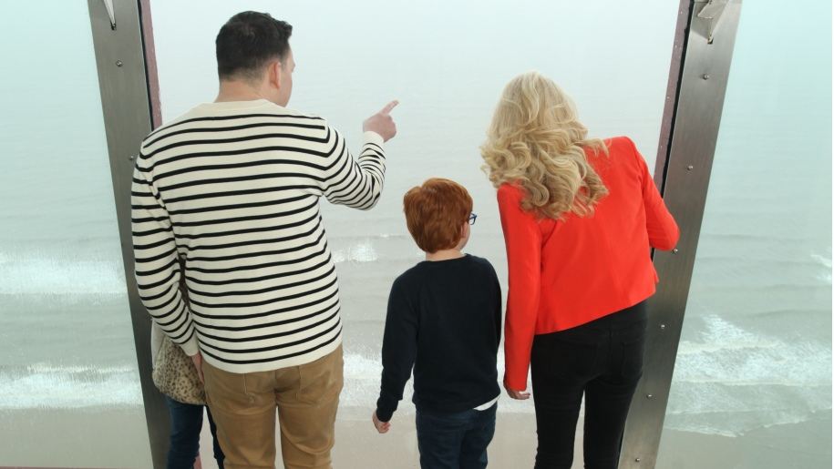 family looking out