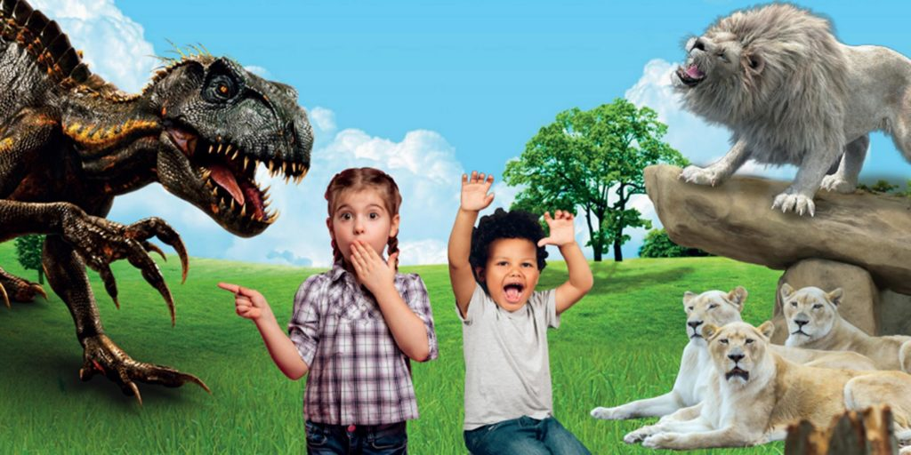 kids with dinos and tigers at paradise wildlife park