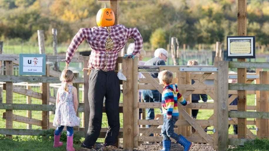 kids with halloween pumpkin scarecrow at green dragon
