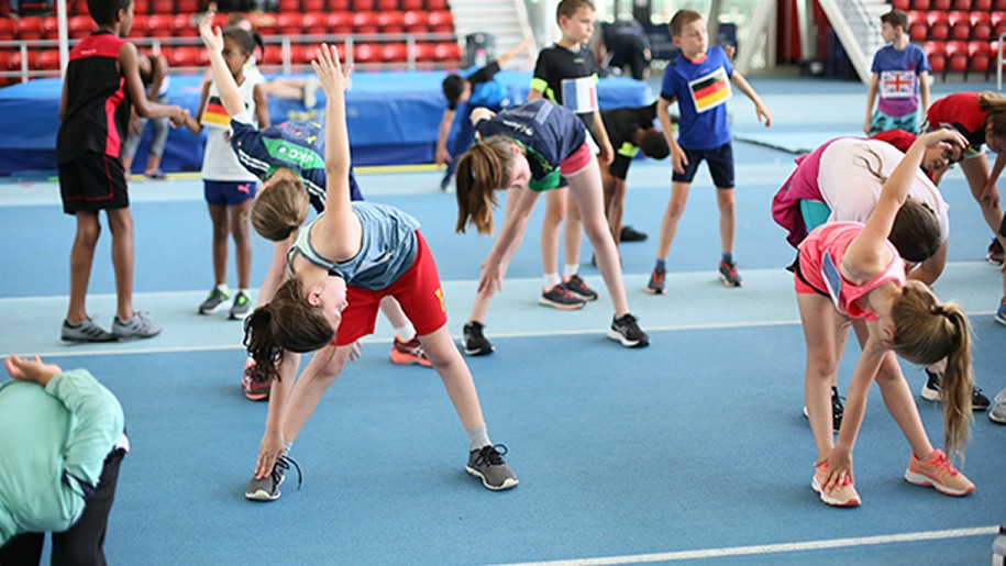 Children doing athletics at Lee Valley