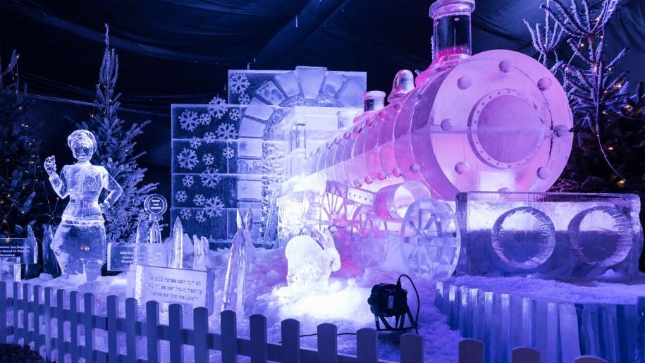 Ice sculpture of steam train