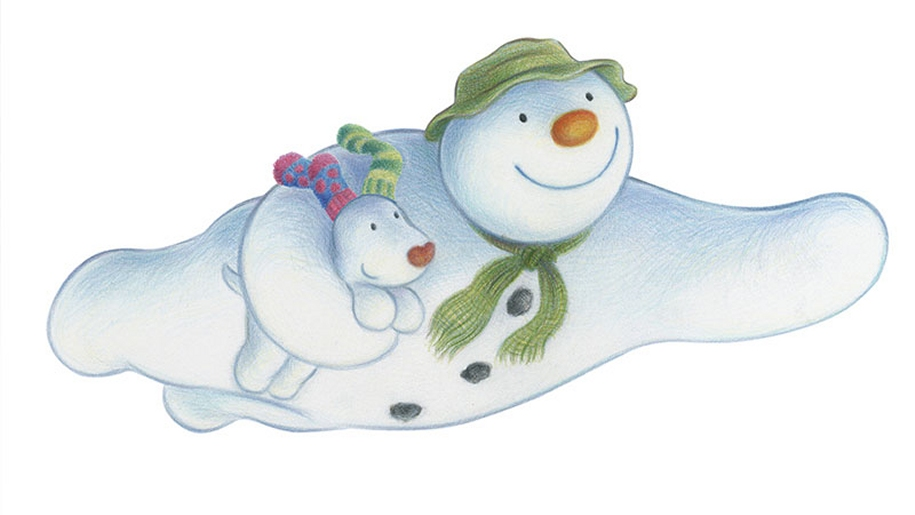 The Snowman flying with Snow Dog underarm
