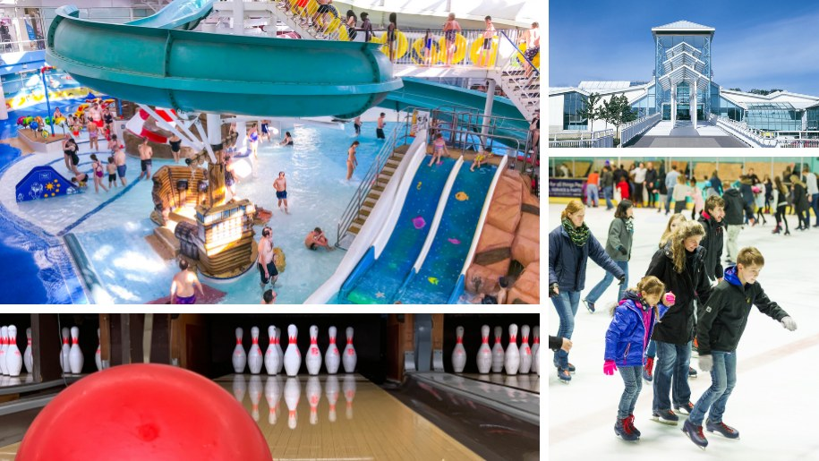 collage of swimming pool, bowling and skating at Guildford Spectrum