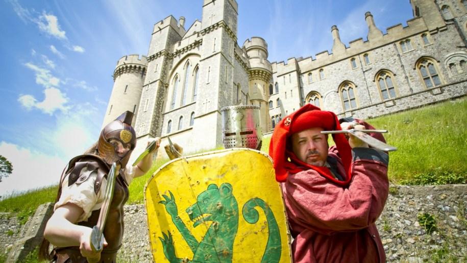 men dressed as knights at Arundel Castle