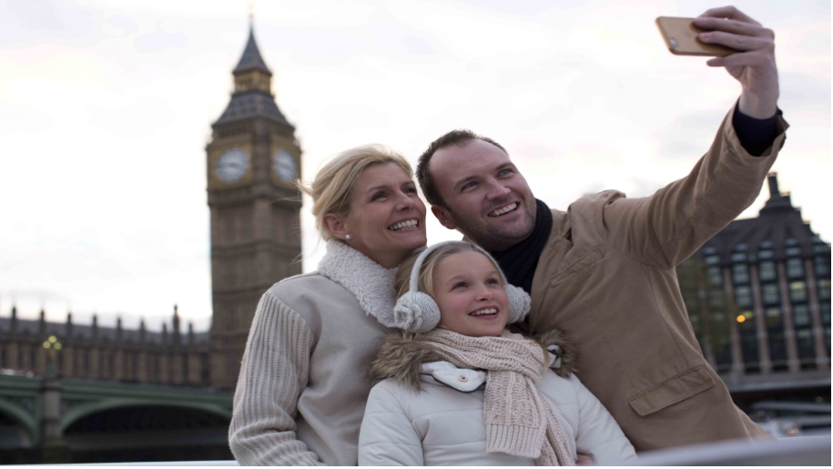 family taking a picture in front of Big Ben London