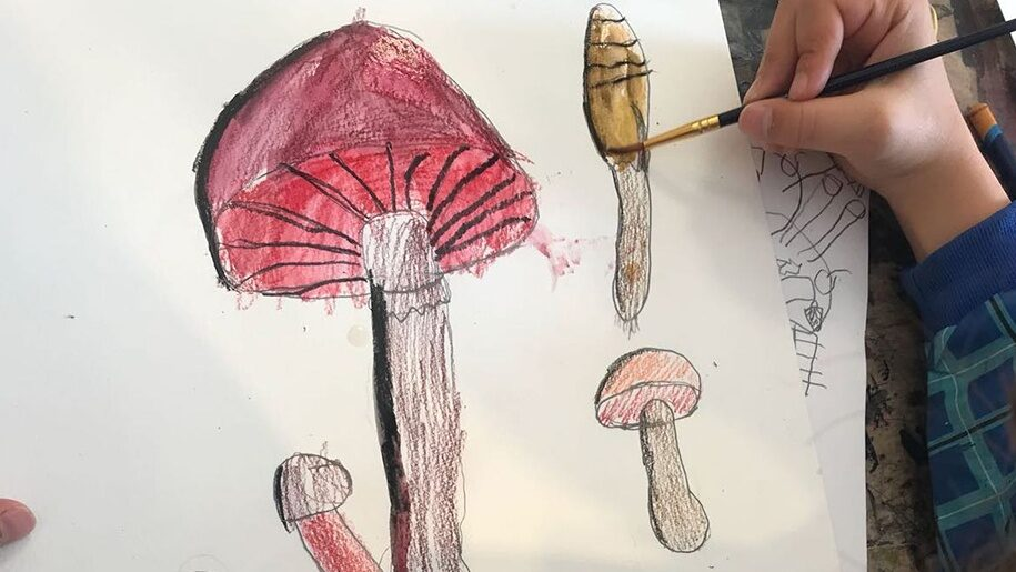 Cygnets St Ives - Child drawing and painting mushrooms