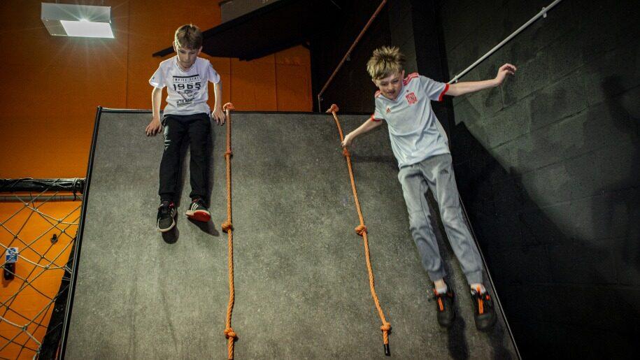 Two boys on slide at Egni Children's Activity Centre
