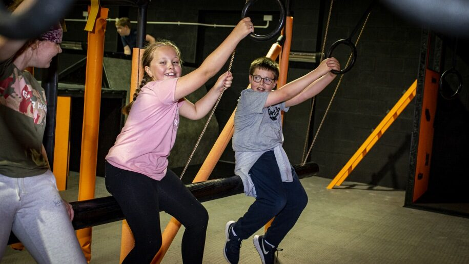 Two children using rings at Egni Children's Activity Centre