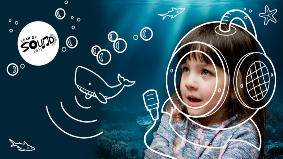 Winchester Science Centre - Young girl with pretend deep sea diving helmet on