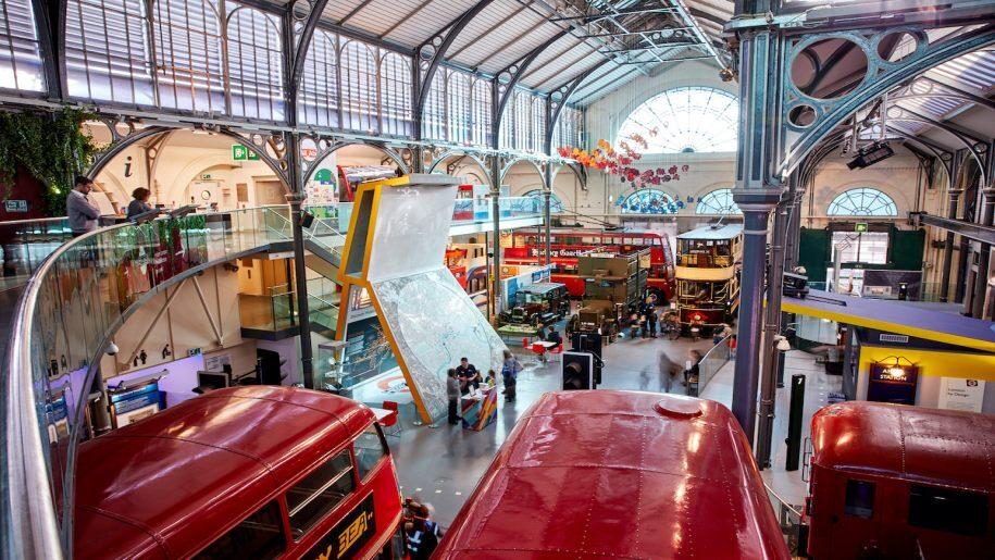 London Transport Museum - Birds eye view over the inside of London transport Museum